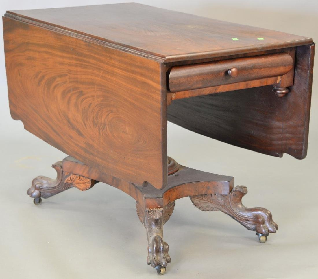 Empire mahogany drop leaf table with paw feet, solid