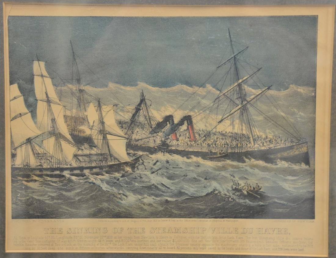"""Currier & Ives  colored lithograph  """"The Sinking of the"""