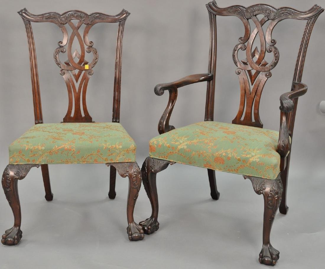 Set of four Chippendale style chairs, one arm and three
