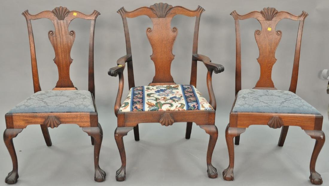 Set of three mahogany Chippendale chairs with shell