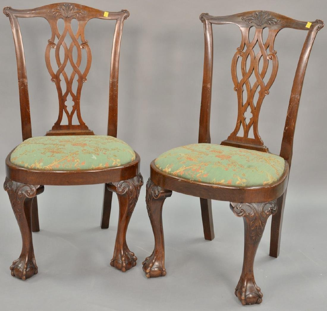 Set of six mahogany Chippendale style side chairs with