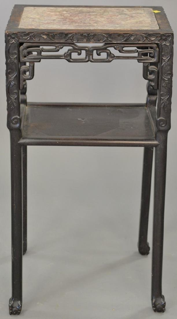 Chinese stand with inset marble top (crack in top), ht.