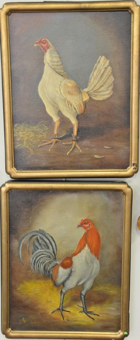 "E. Garden, pair of oil on canvas paintings, ""Chickens"","