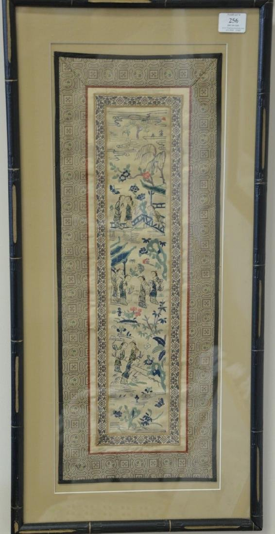 Set of three Chinese framed silk embroidered panels.