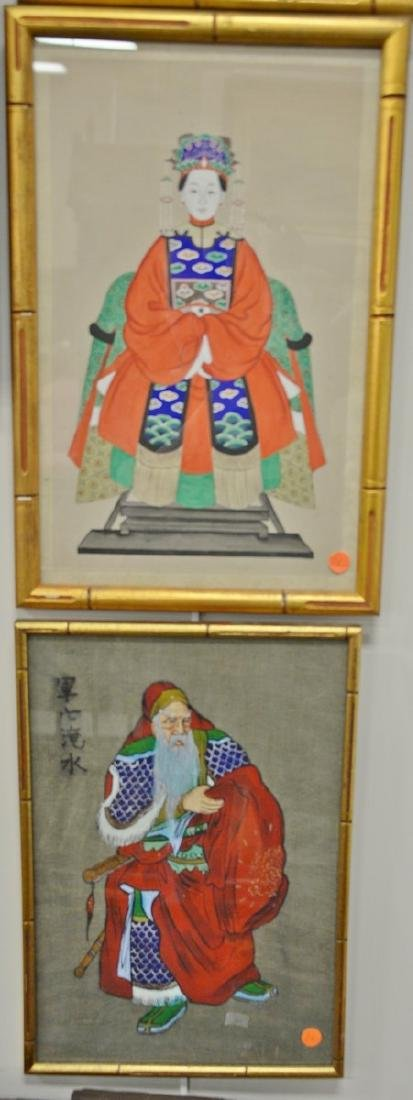 Four framed Chinese paintings to include a pair of 20th