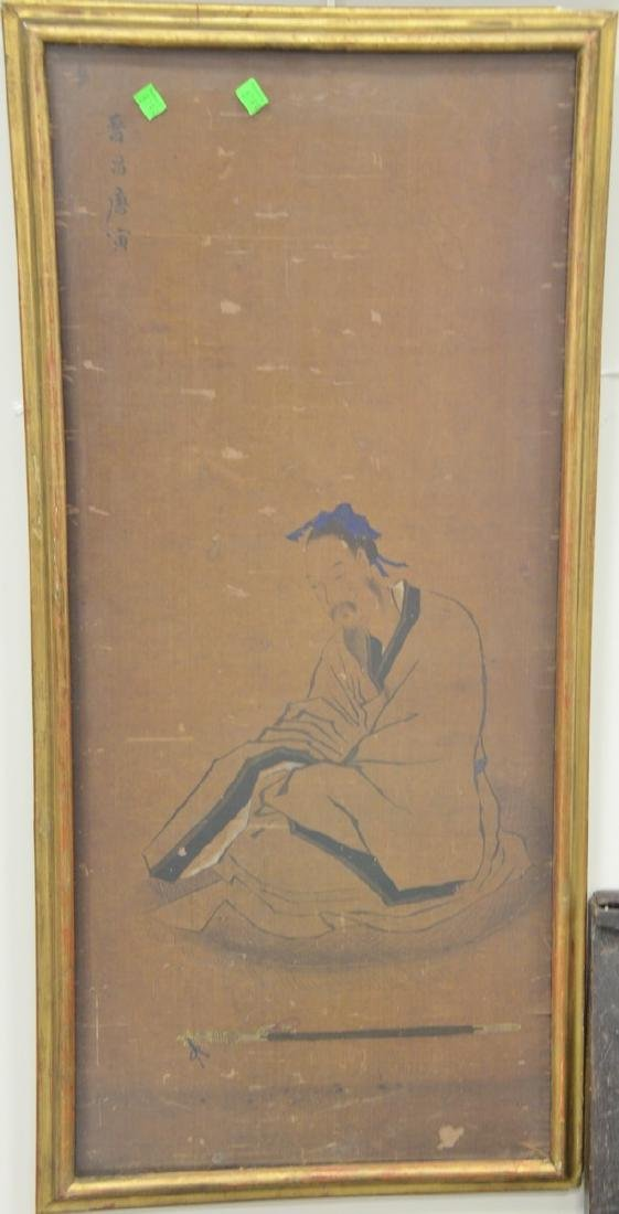 Two framed Chinese paintings to include an oil on silk