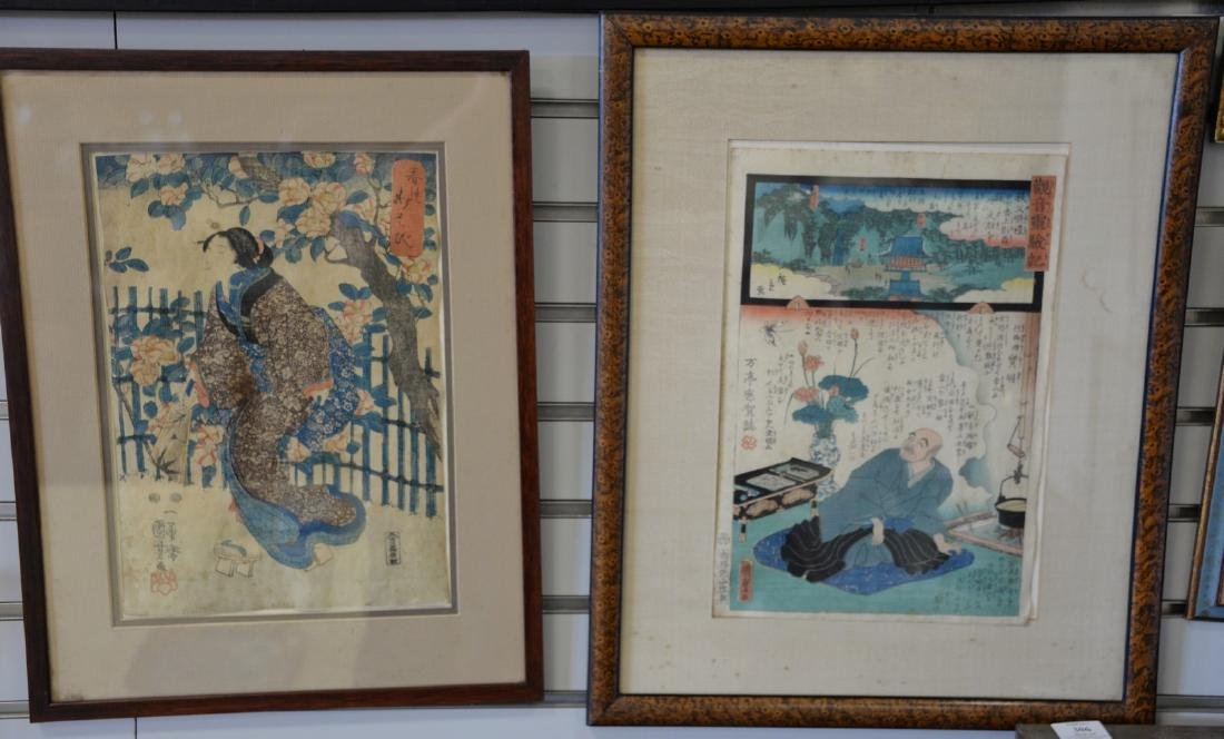 Four framed Japanese woodblock prints, one is a