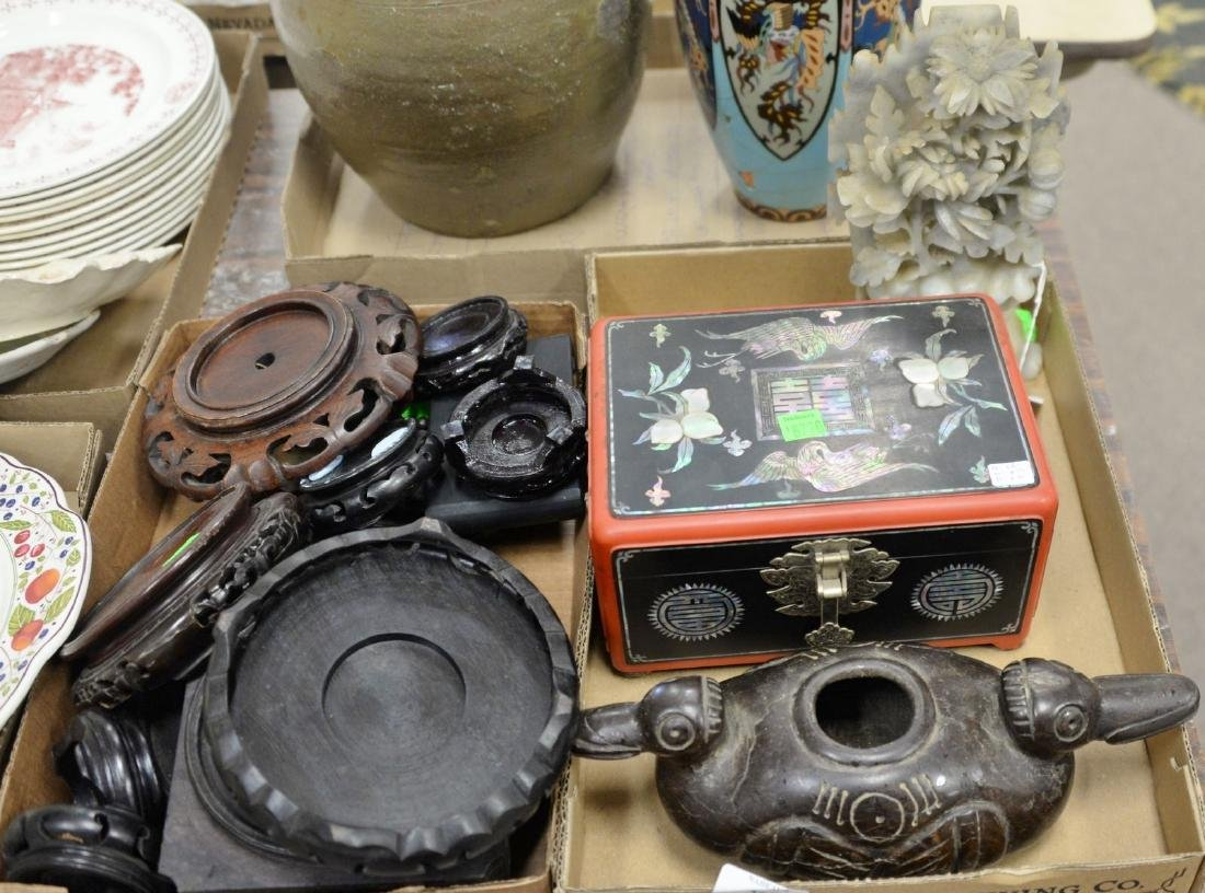 Three tray lots of Asian items to include carved
