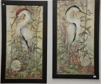 Three large framed pieces including a pair of Beki