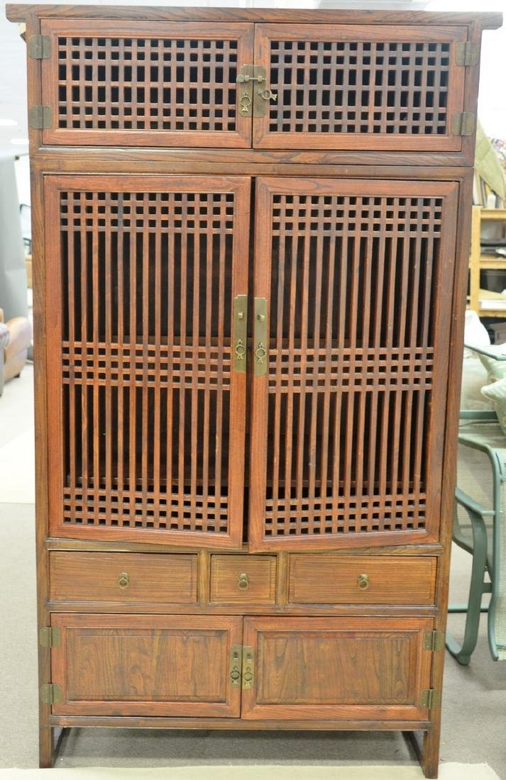 Chinese style cabinet in two parts having six doors and