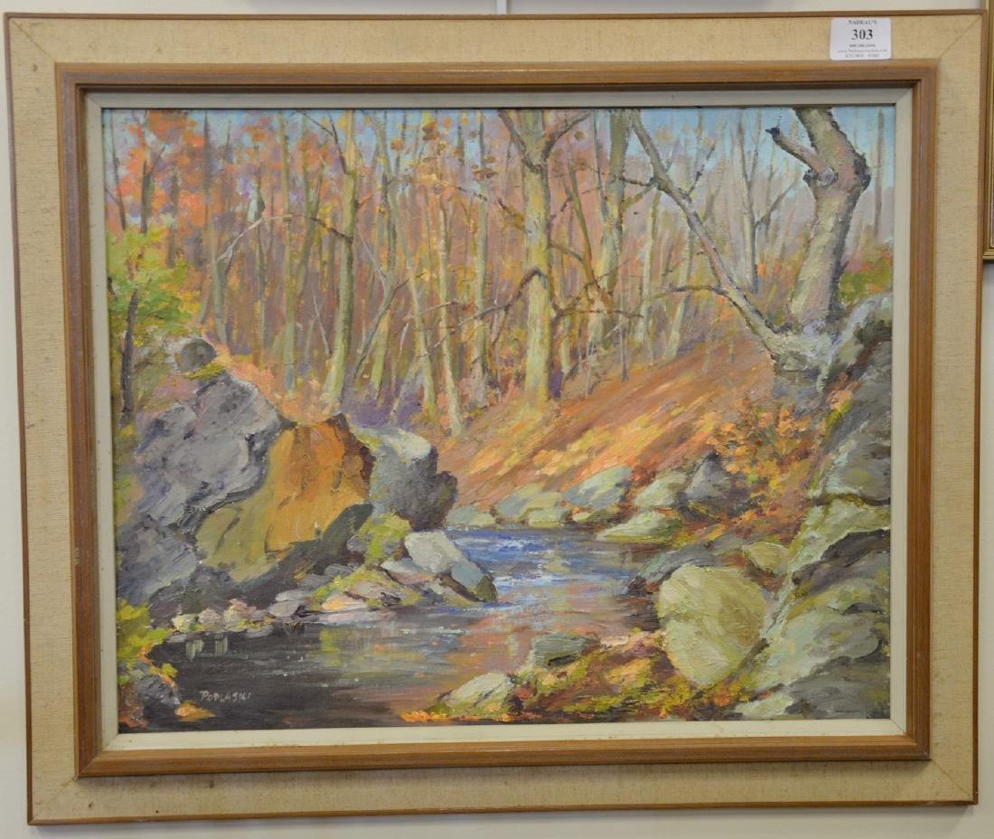 Alex Poplaski (1906-1988), oil on board, fall landscape