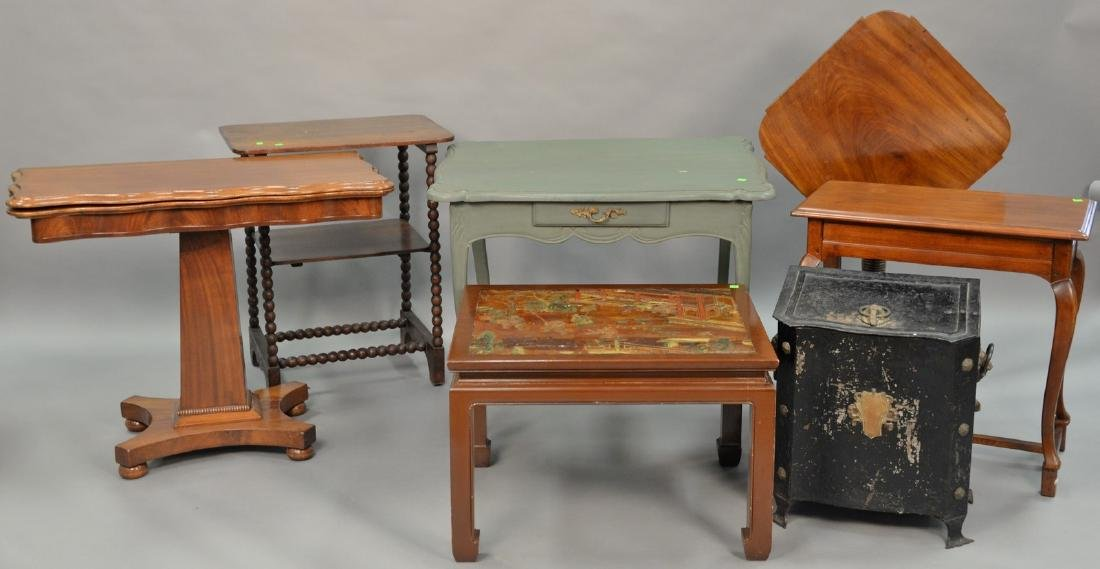 Seven piece lot to include Asian style table, Louis XV