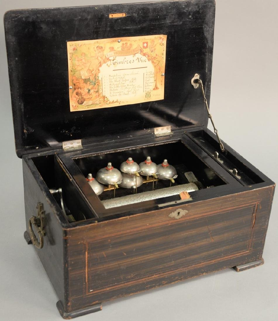 Swiss cylinder music box with six bells and 8 inch