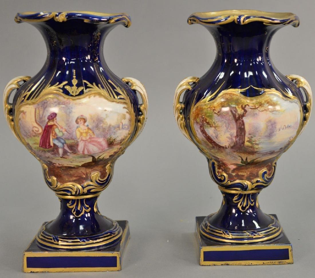 Pair of Sevres porcelain vases having