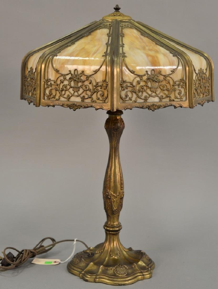 Wilkinson lamp with caramel slag glass panels. ht. 26