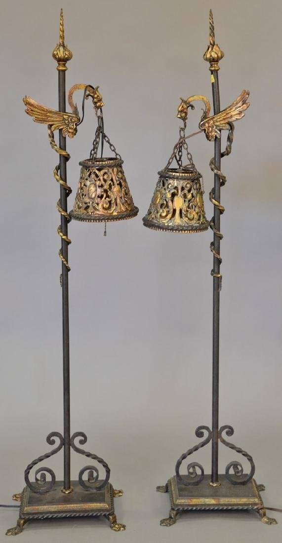Pair of iron floor lamps with bird hangers and iron