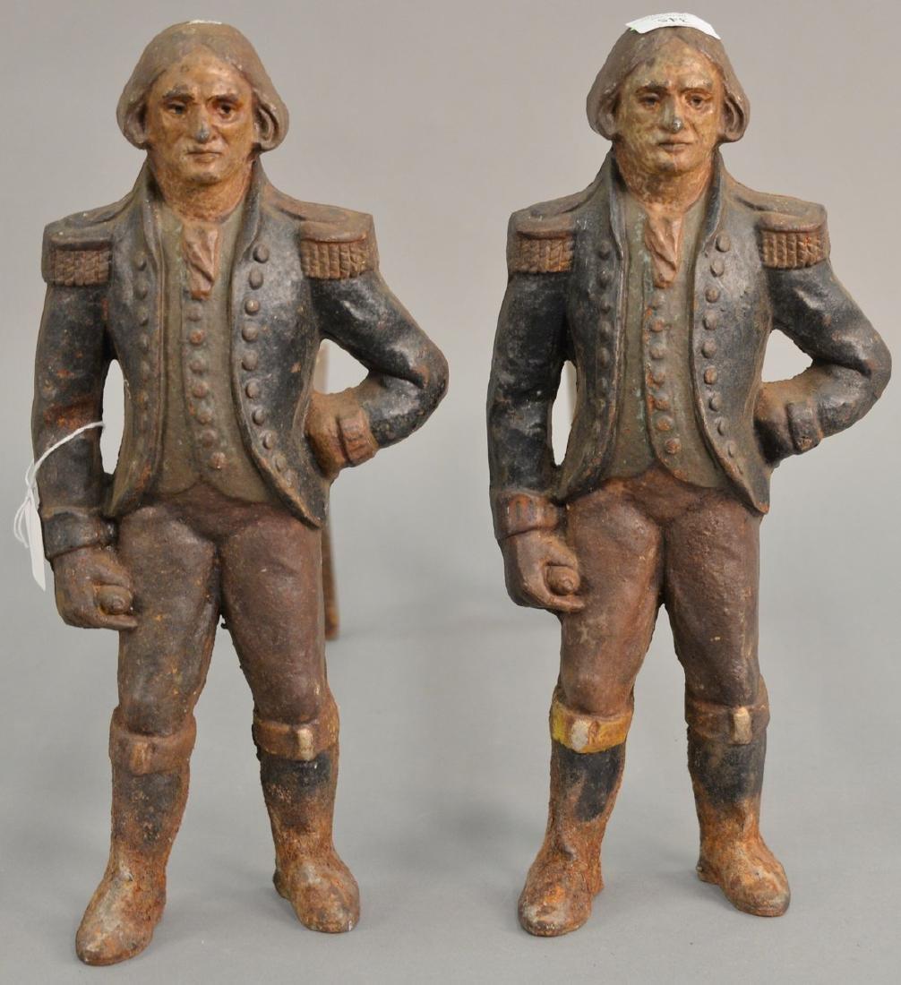 Pair of figural iron andirons of George Washington,