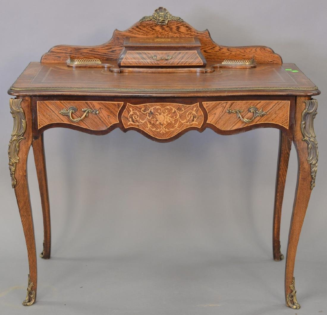 Louis XV style leather top desk with metal mounts. ht.