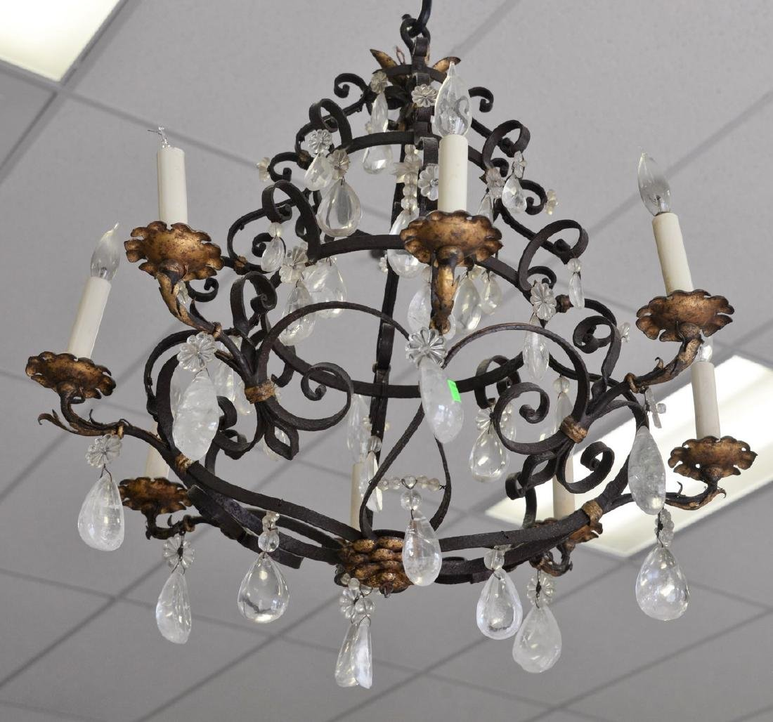 Rock crystal and iron chandelier with eight lights,