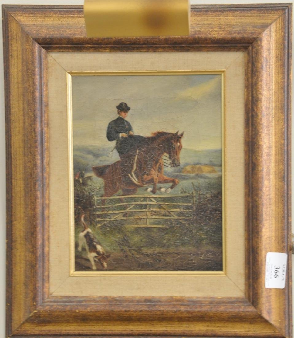 Oil on canvas, Fox Hunt, unsigned equestrian painting,