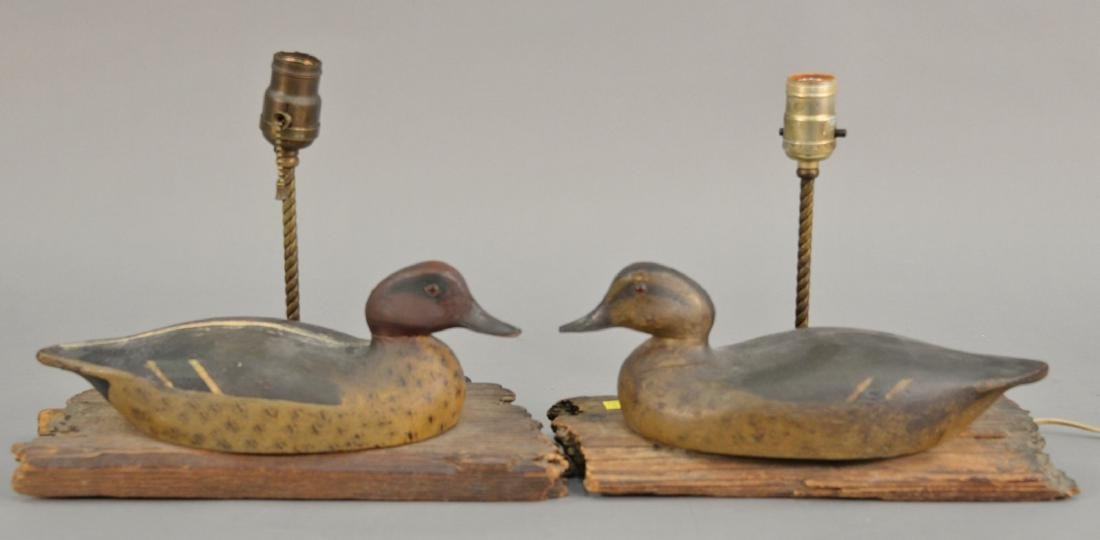Two duck decoys made into table lamps.  decoy length 12