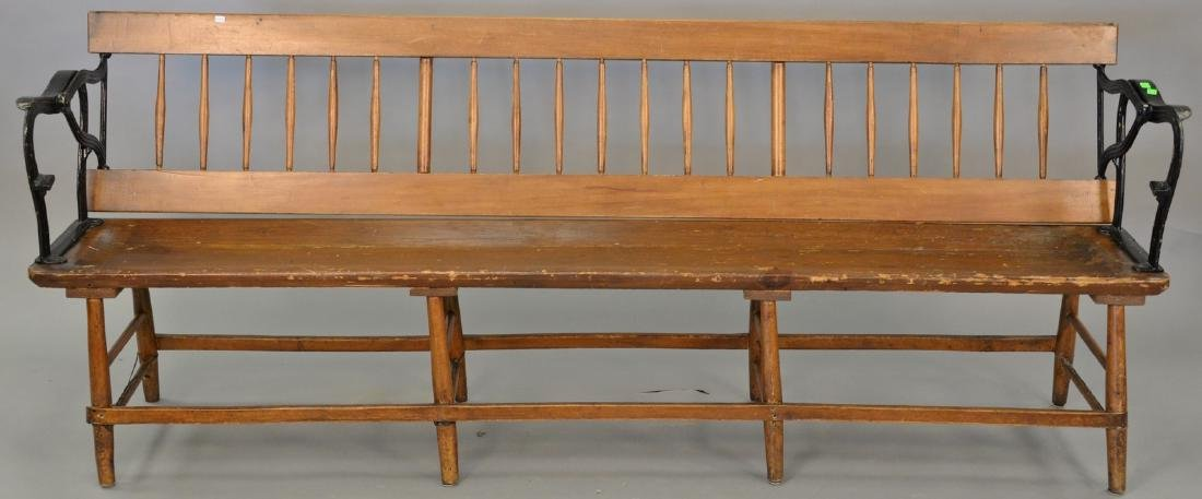 Railroad plank seat bench with iron arms and reversible