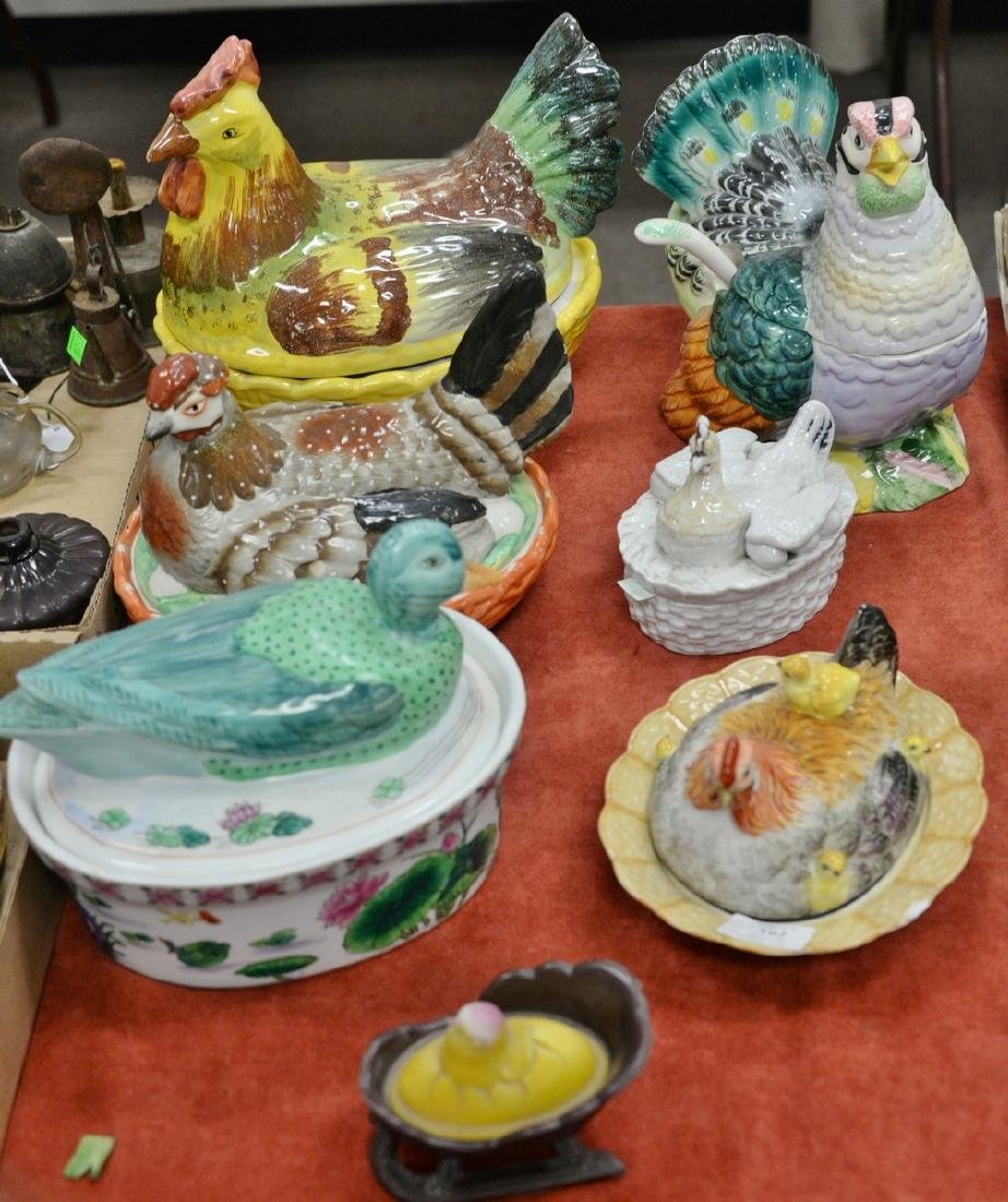 Group of seven porcelain rooster or chicken covered