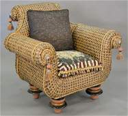 Mackenzie Childs chair and ottoman with custom pillows