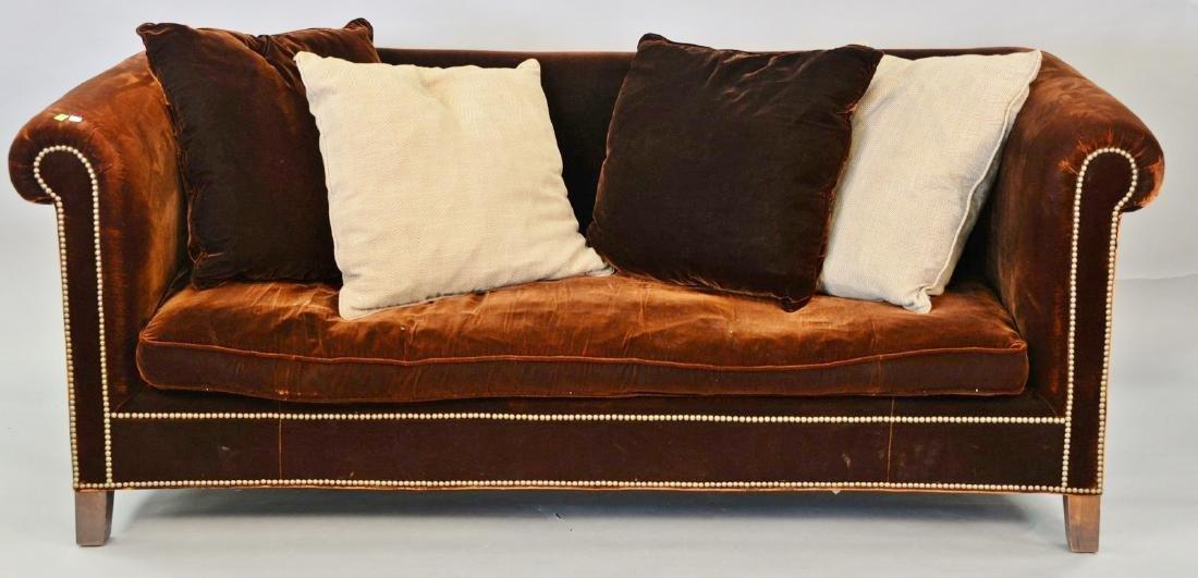 Custom Ralph Lauren sofa with four pillows, in