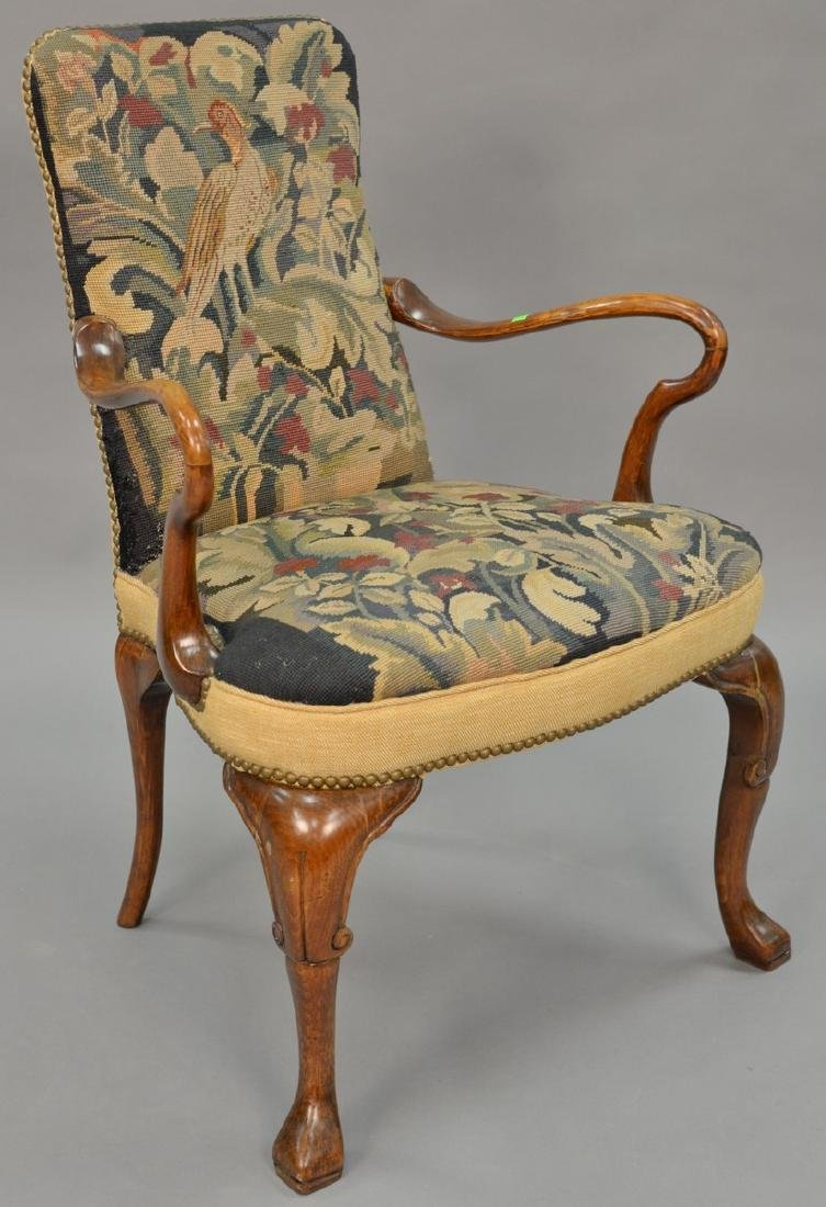 Queen Anne style open armchair with needlepoint