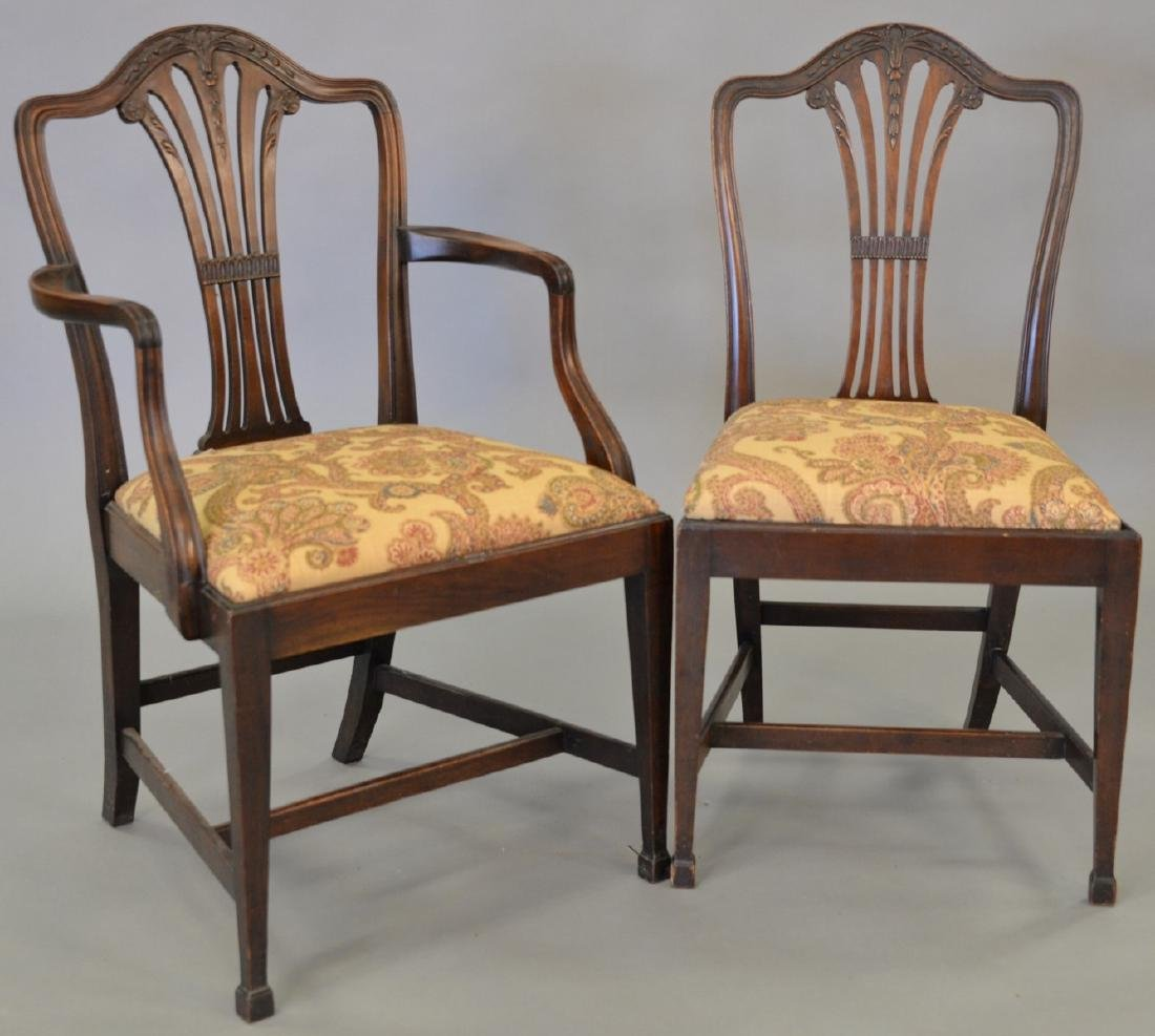Set of ten mahogany Federal style dining chairs, two