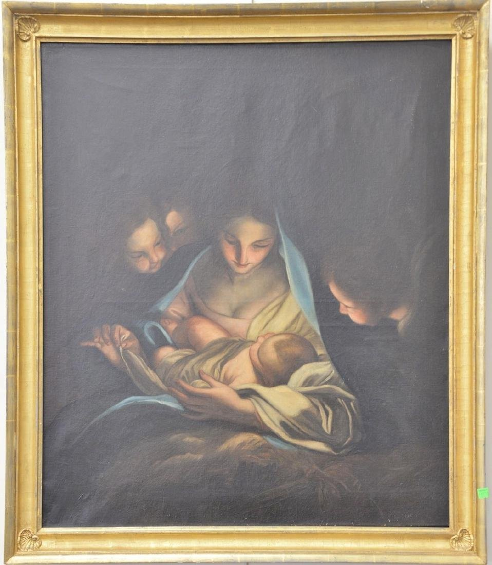 19th century oil on canvas Madonna and child, unsigned,