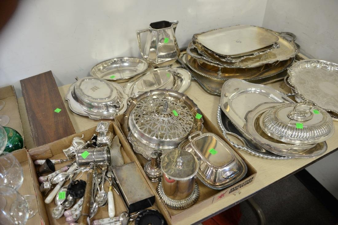 Large group of silverplate items to include large