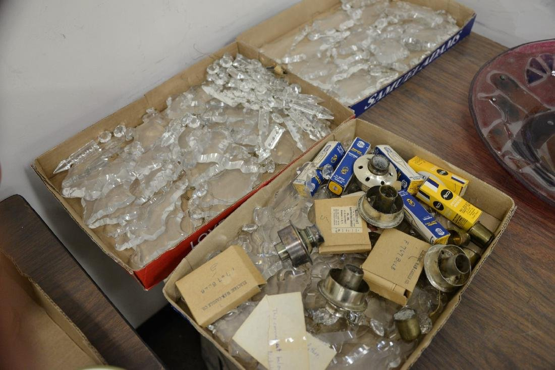Three boxes of cut crystal shaped chandelier drops and