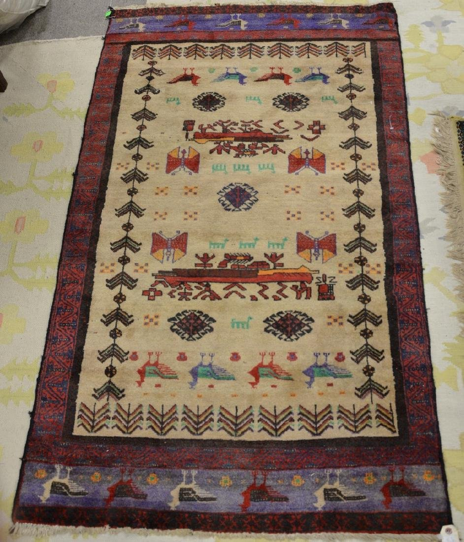 "Two Oriental throw rugs. 3' x 5'4"" and 3' x 5'5"""
