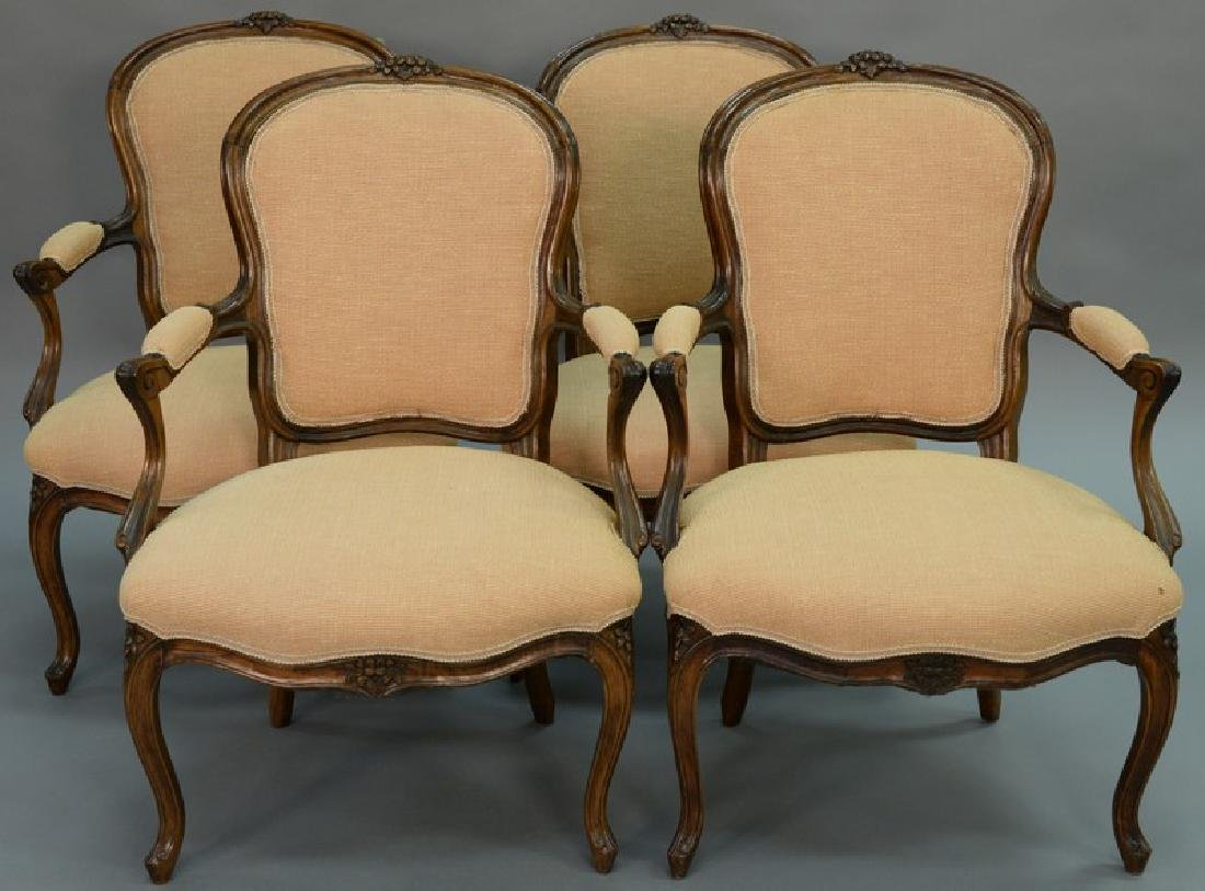 Set of four Louis XV style fauteuils, probably 19th