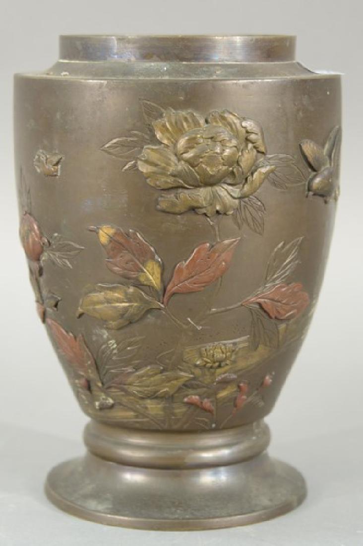 Japanese multi metal vase/lamp base.  height 9 1/2