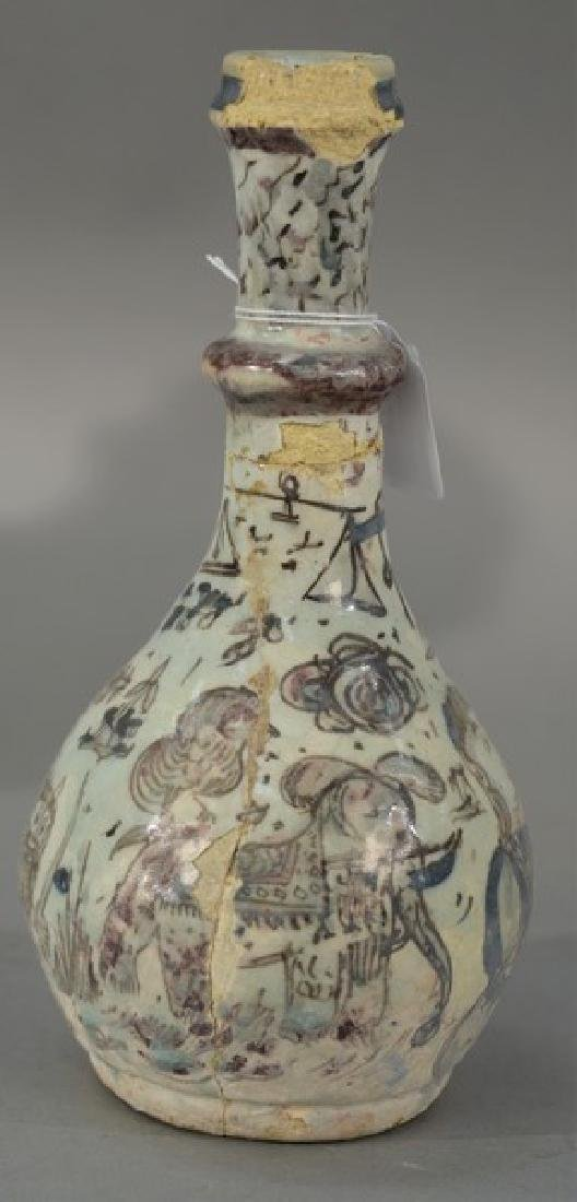 Early Persian earthenware bottle vase (as is, repaired)