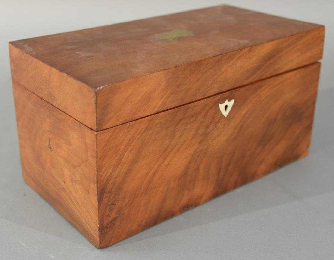 "Mahogany tea box.  height 6 inches, top: 5 1/2"" x 11"""