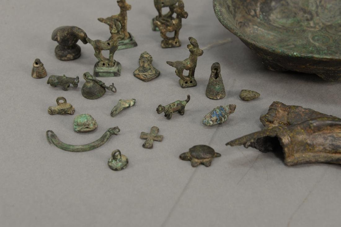 Group or miniature archaic bronze and metal figures and - 2