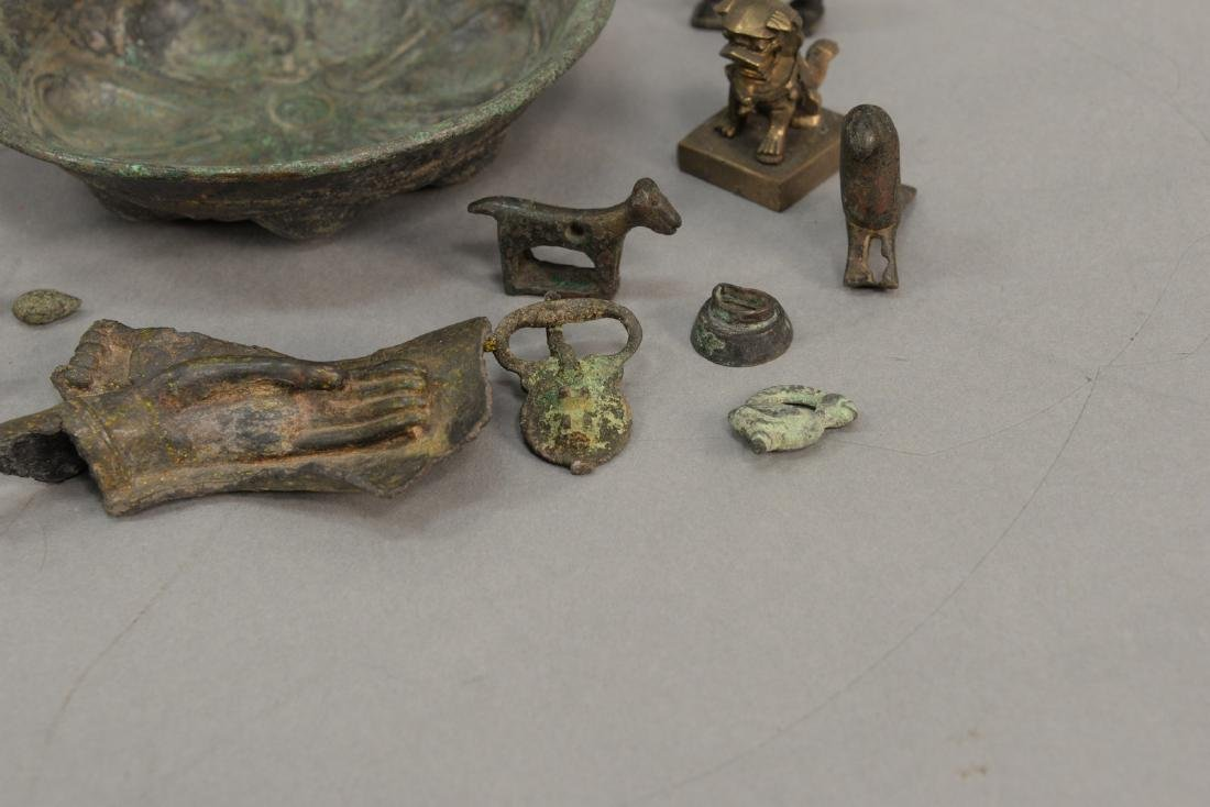 Group or miniature archaic bronze and metal figures and - 6