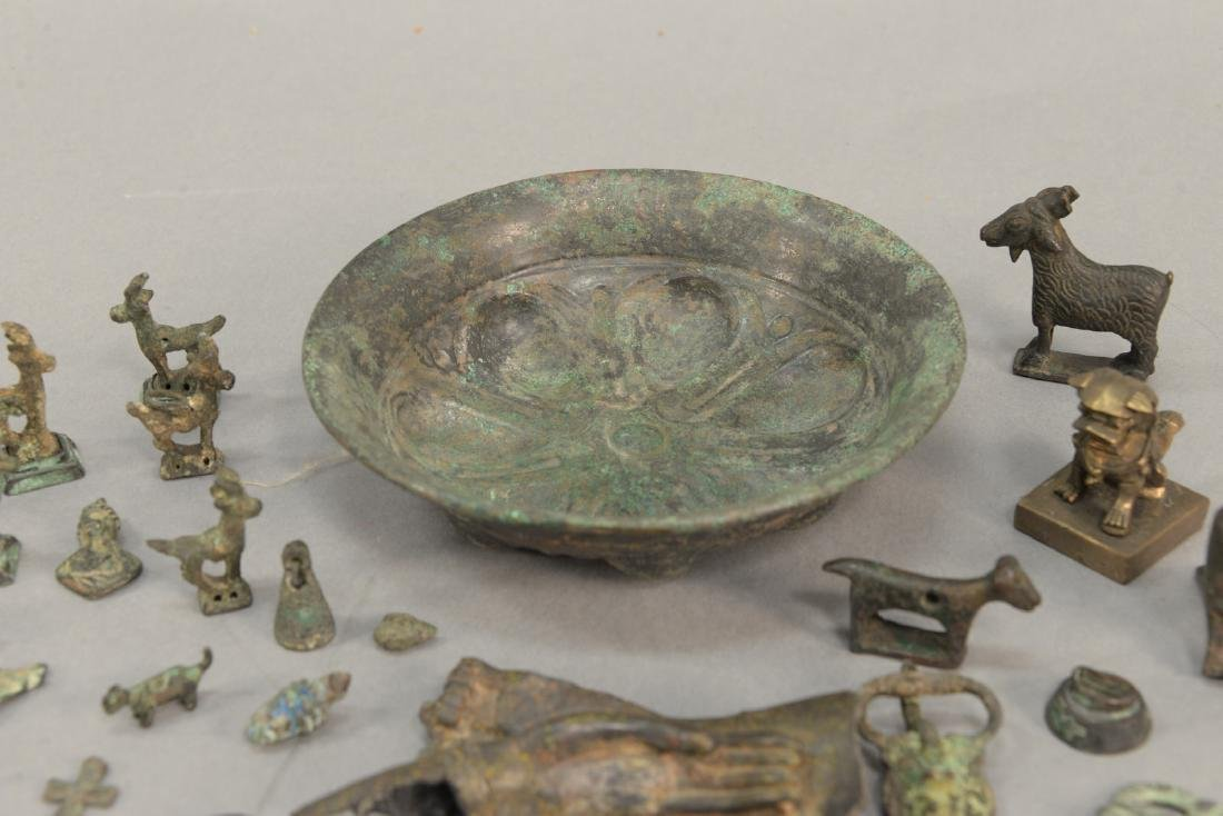Group or miniature archaic bronze and metal figures and - 7