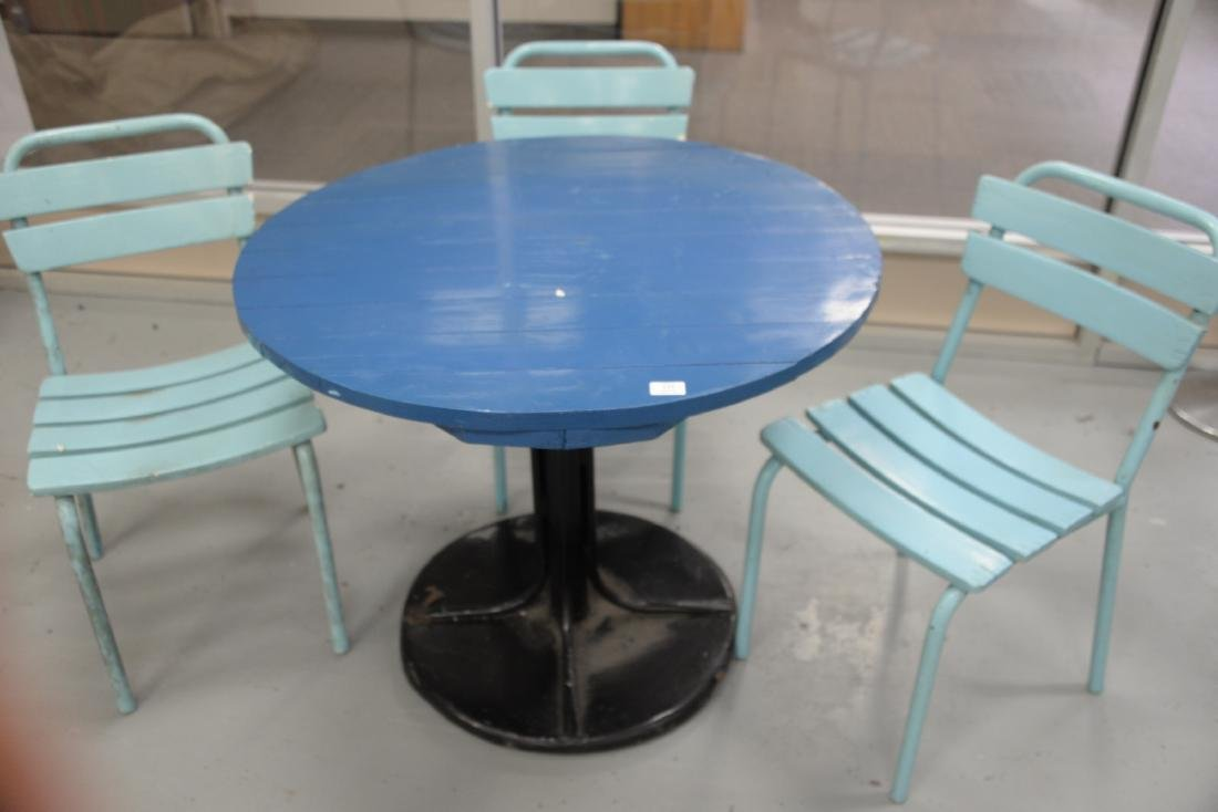 Four piece outdoor set to include a round metal table - 3