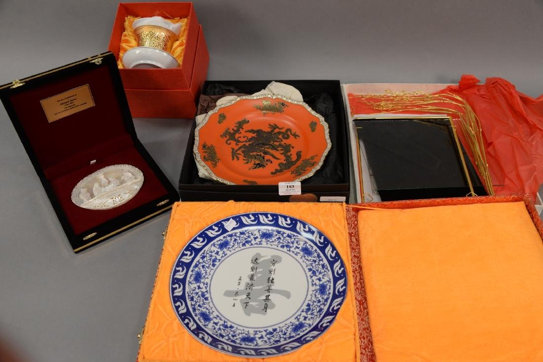 Group of five Asian pieces in boxes to include a
