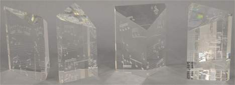 Four piece Steuben crystal bookends having etched music