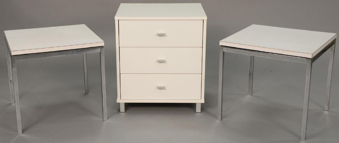 Four piece lot to include a pair of Knoll side tables