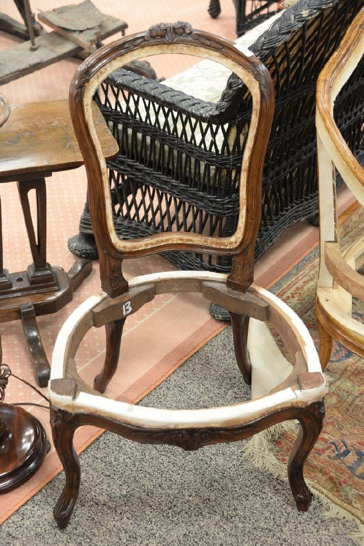 Pair of Louis XV style side chairs with floral carved - 2