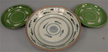 Group of three stoneware glazed pieces including large