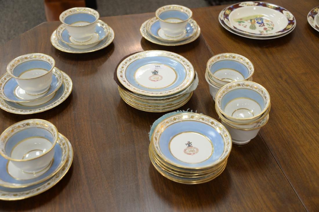 Thirty-six piece English dessert set with twelve cups, - 6