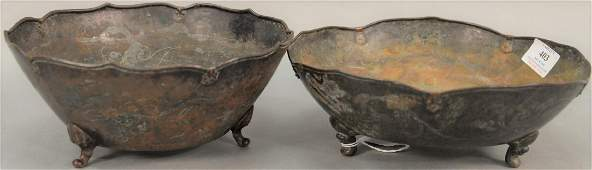 Two large mixed metal Chinese bowls, hand hammered